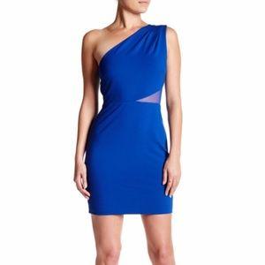 Halston Heritage One-Shoulder Mesh Inset Dress